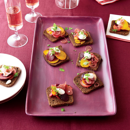 Roasted Beet Toasts with Horseradish Cream
