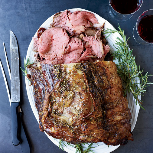 Rosemary-Pepper Beef Rib Roast with Porcini Jus