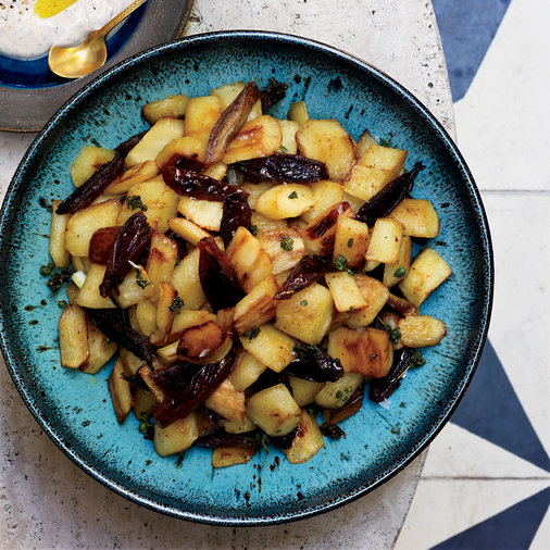 Sautéed Parsnips with Dates and Spiced Yogurt