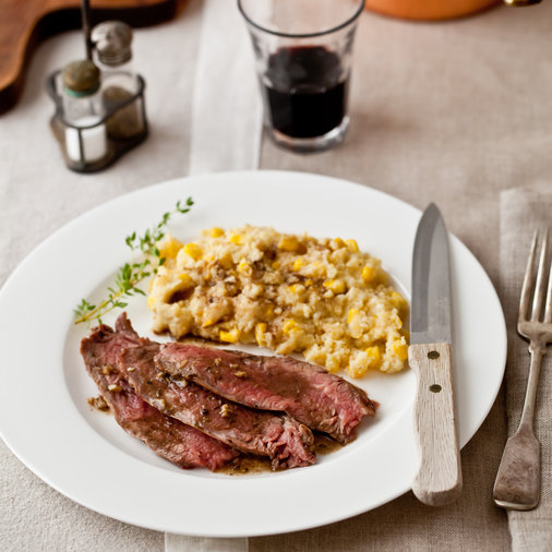 Flank Steak Over Corn-Kernel Polenta