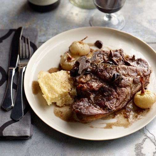 Braised Pork Chops with Cipollini and Olives