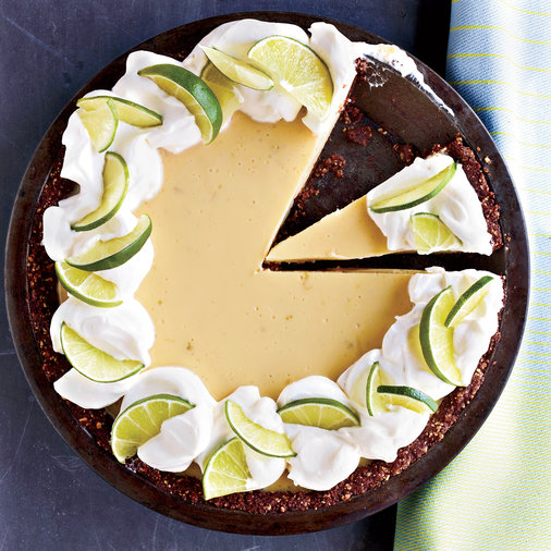 Key Lime Pie with Chocolate Almond Crust