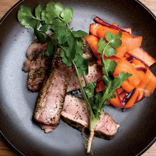 Seaweed-Dusted Pork Chops with Quick-Pickled Carrots