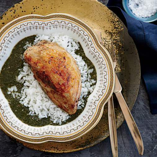 Molokhia with Spiced Chicken