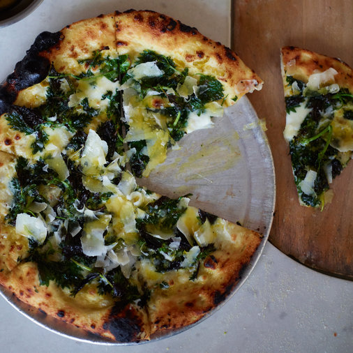 Pizza with Garlic Cream and Nettles
