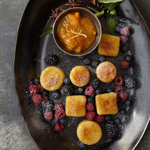 Fried Semolina Dumplings with Apricots and Apricot Preserves