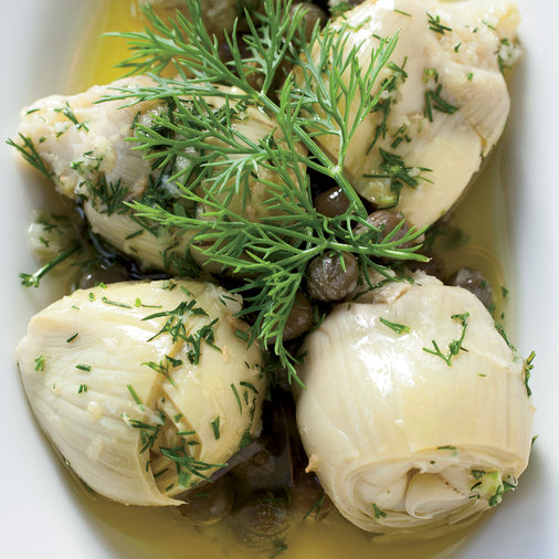 <p>Marinated Baby Artichokes with Dill and Fresh Ginger</p>