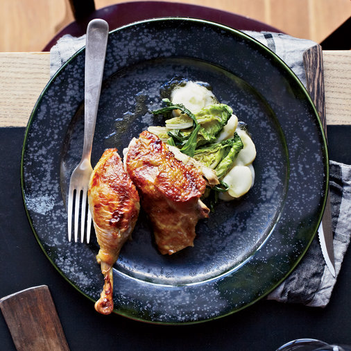 Roast Guinea Hens with Prosciutto and Endives