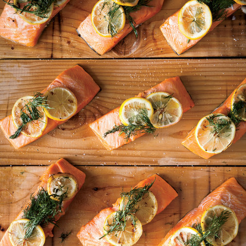 Cedar-Planked Salmon with Lemon and Dill