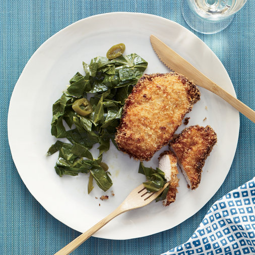 <p>March 13: Coconut Chicken with Pickled Pepper Collards</p>