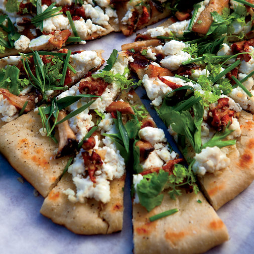 Grilled Flatbreads with Mushrooms, Ricotta and Herbs