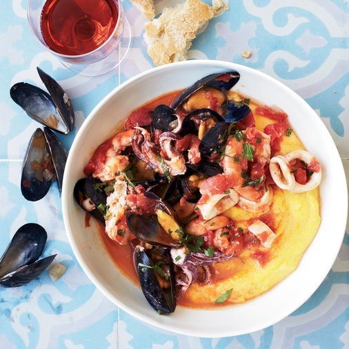 Shellfish-Tomato Stew on Soft-Cooked Polenta