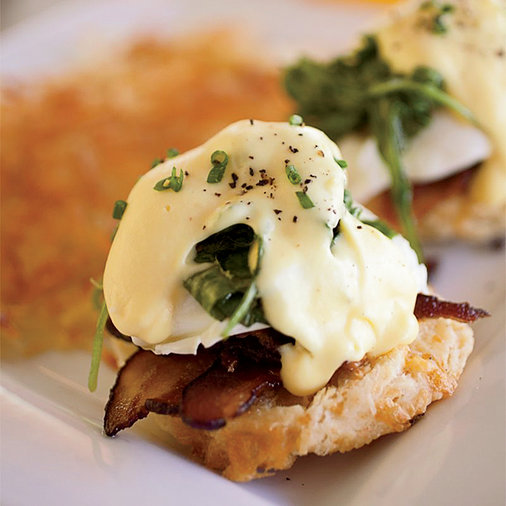 Eggs Benedict with Bacon and Arugula