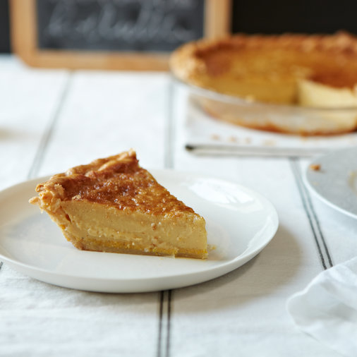 <p>Chess Pie with Crème Fraîche and Vanilla</p>