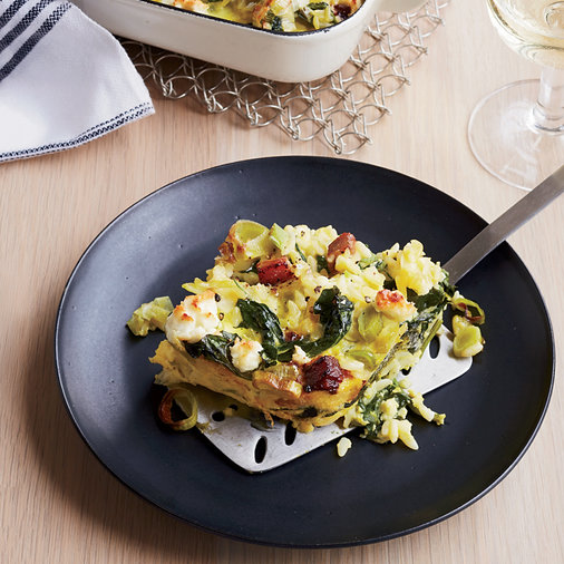 <p>Custardy Baked Orzo with Spinach, Bacon and Feta</p>