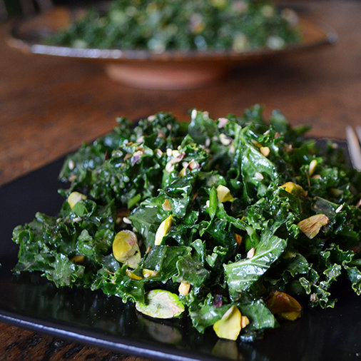 Kale Salad with Miso and Pistachios
