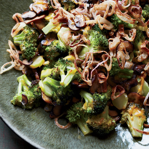 Baked Broccoli and Mushrooms with Crispy Shallots