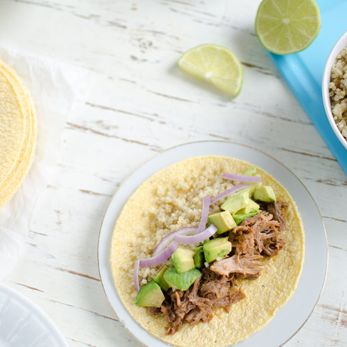 BBQ Shredded Pork and Quinoa Tacos