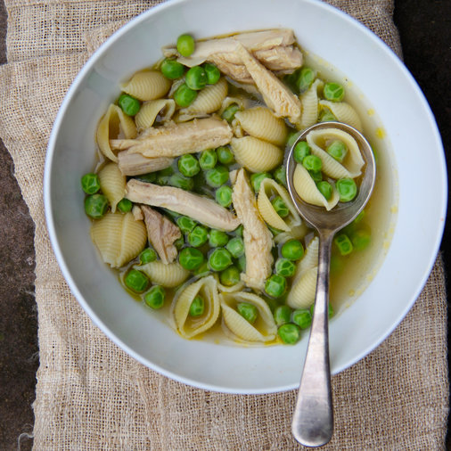 Chicken and Shell Noodle Soup with Peas