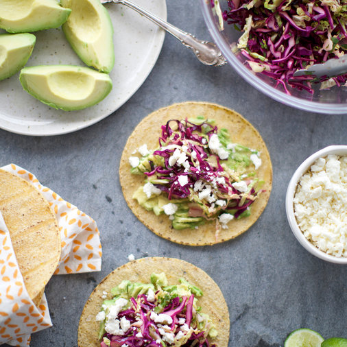 Fresh Cabbage and Avocado Tacos with Queso Fresco