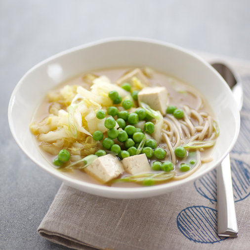 Gingery Soup with Tofu, Cabbage and Soba Noodles