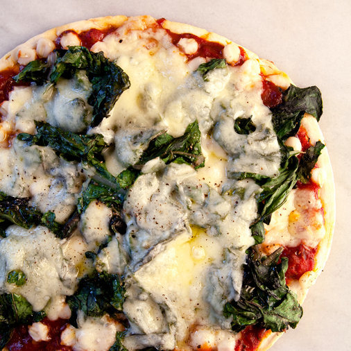 Swiss Chard and Hominy BBQ Pizza