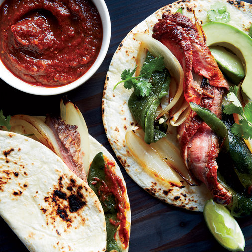 Steak Fajitas with Charred-Tomato Hot Sauce