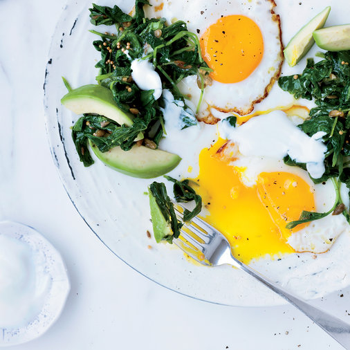 <p>Fried Eggs with Mustard Seed Oil and Kale</p>