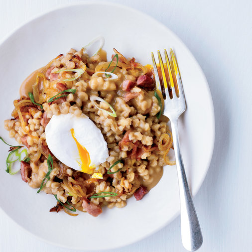 <p>Pearl Barley Porridge with Ham and Eggs</p>