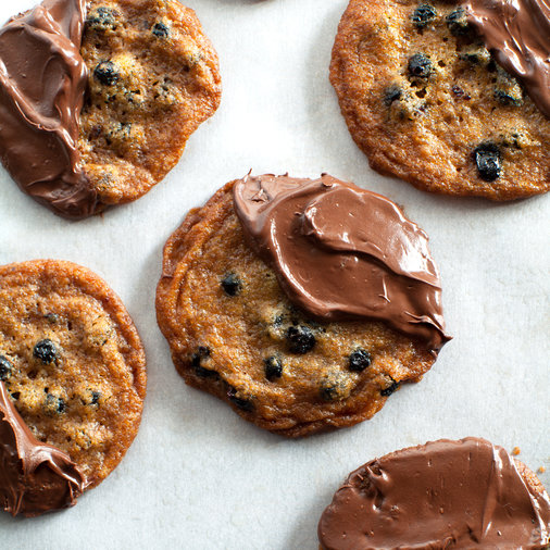 Crispy Blueberry Cookies Dipped in Chocolate