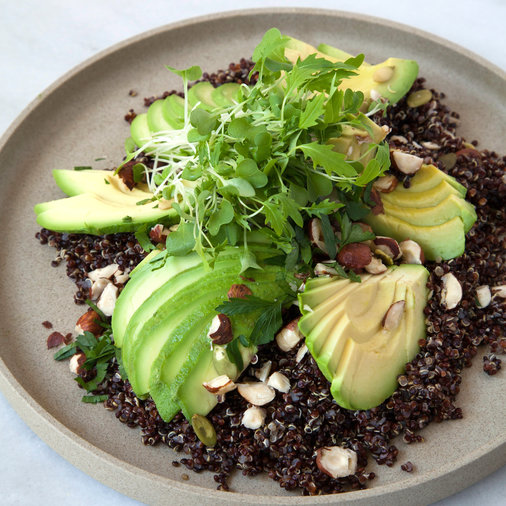 Black Quinoa and Sliced Avocado Salad with Cracked Hazelnuts