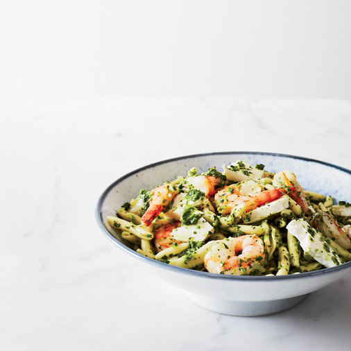 No-Cook Green Harissa Pasta with Shrimp and Feta