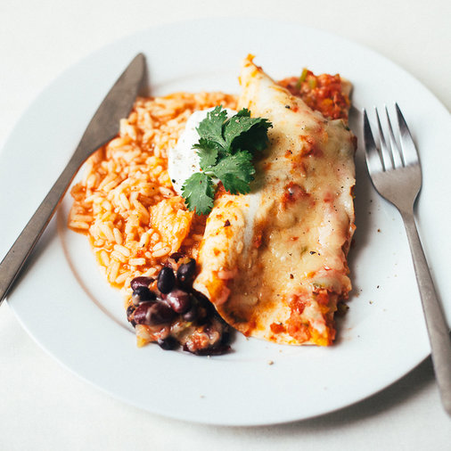 Bean and Cheese Vegetarian Enchiladas