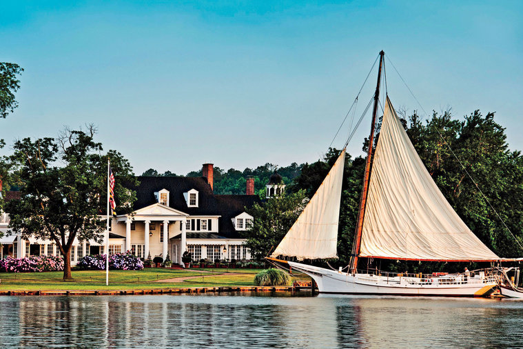 The waterfront approach to Inn at Perry Cabin by Belmond