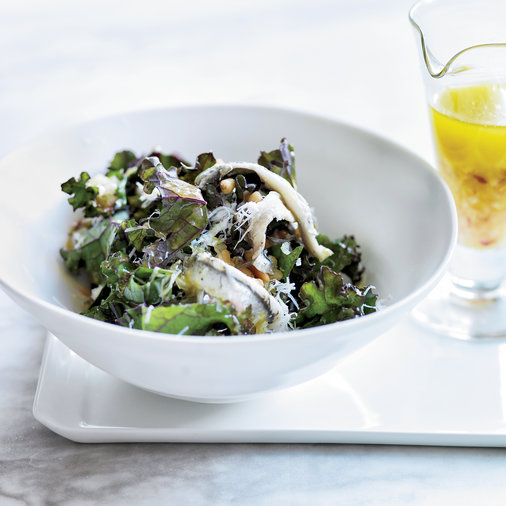 Kale Salad with Ricotta Salata Pine Nuts & Anchovies