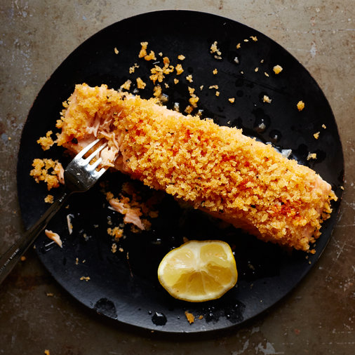 Buttery Bread Crumb Baked Salmon