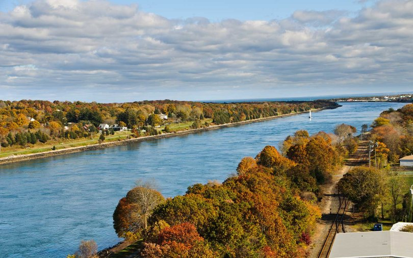 Eastward view of the Cape Cod canal from the Sagamore Bridge