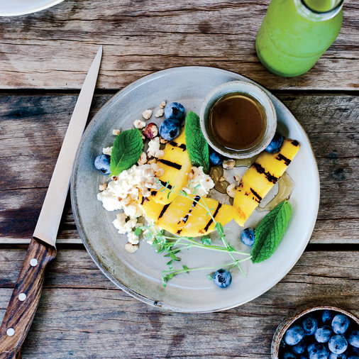 Charred Mangoes with Ricotta, Honey and Caramelized Lime