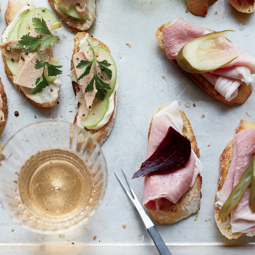 Country Ham and Pickle Crostini