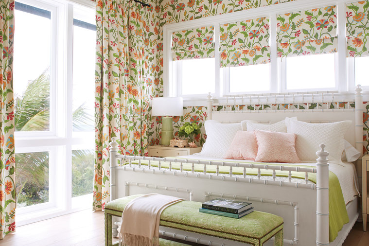 """Susan wanted one guest room that would be completely unexpected. """"Everything on the island is so upbeat and fun, I knew the house could handle something with so much bright, colorful pattern,"""" she says. Howard agrees: """"Riding your bike here, you..."""