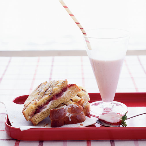Thick Shakes with Strawberry-Mascarpone Panini