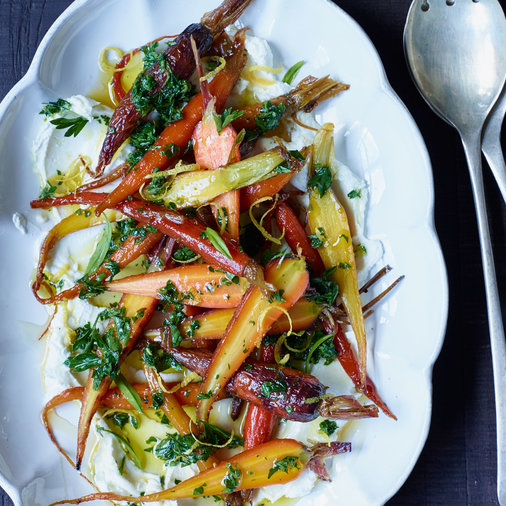 Glazed Carrots with Goat Cheese and Honey