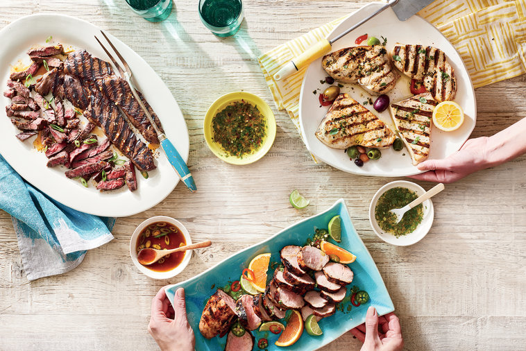 Cater to a crowd by loading up your dinner table with grilled cuts from land and sea—elevated by one of our three versatile marinades.