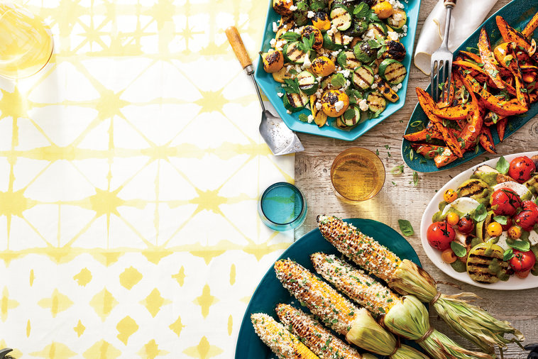 Cherry tomatoes? Check. Corn? Absolutely. Everything benefits from a turn on the grill  Recipe: Grilled Tomato Salad With Creamy Basil Dressing Recipe: Grilled Sweet Potatoes With Scallion Butter Recipe: Elote-Style Corn With Cotija And Spicy Cilantro Cre