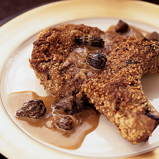 Hazelnut-Crusted Pork Chops With Morel Sauce