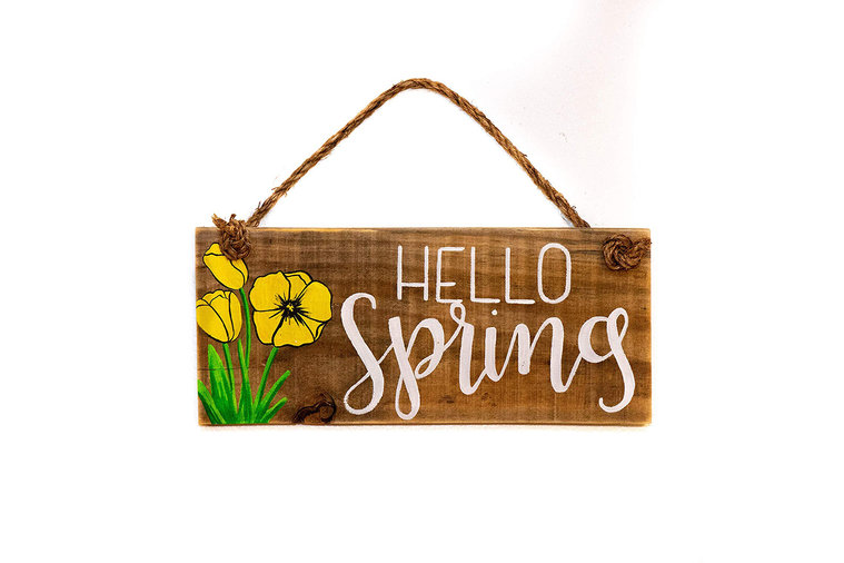 Hello Spring Wood Sign