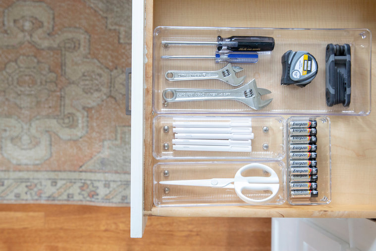Kitchen Renovation Ideas, Organized Junk Drawer with scissors and batteries