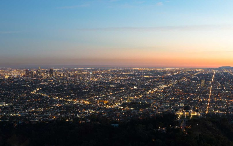 Los Angeles, Illuminated cityscape at sunrise