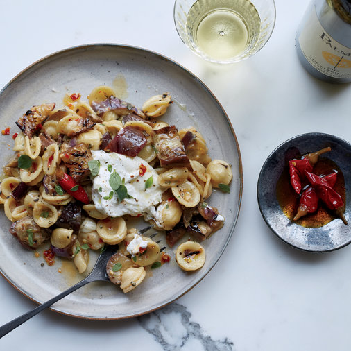 Pasta with Marinated Grilled Eggplant, Burrata and Chiles