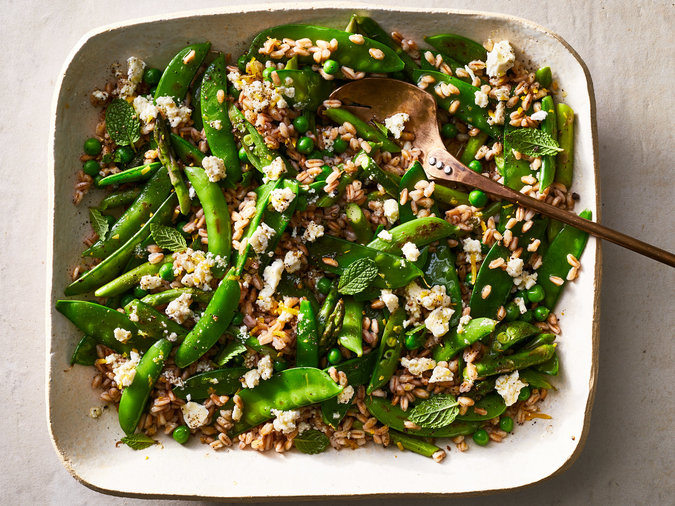 Triple-Pea and Asparagus Salad with Feta-Mint Dressing
